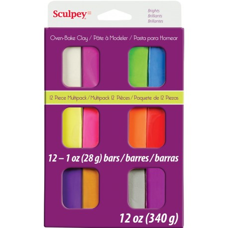 Sculpey Brights Multipack 12 Pieces