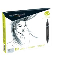 Prismacolor French Grey Brush Tip Marker Set