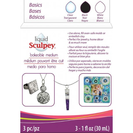 Liquid Sculpey® Bakeable Medium – Clear, White & Black