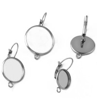 12mm Leverback Bezel Earrings with Loop