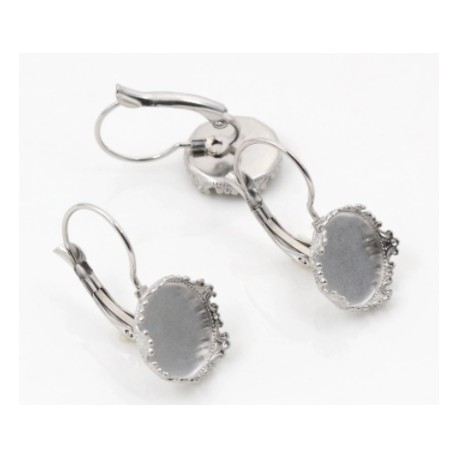 12mm Leverback Lace  Edge Earrings with Loop - 2 pairs